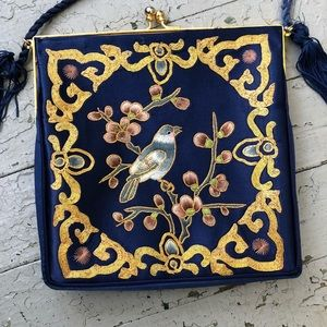 Vintage Blue Silk Asian Embroidered Purse